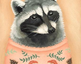 Sweatered Raccoon Print 8x10