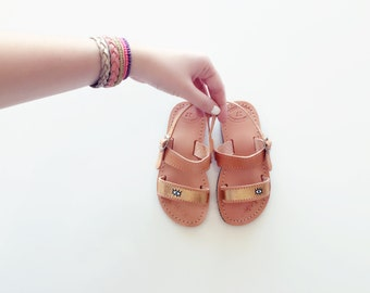 Handprinted Evil Eye Double Strap Sandals - Child to Adult size Greek Summer Leather criss cross strap Sandals