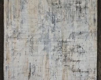 Neutral White Gray Minimalist Abstract Painting, Modern Industrial Wall Art 24 x 30