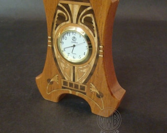 """Clock, Art Nouveau Inlaid """"Miniature"""". MDC-30 Free Engraving, Free Shipping within the U.S."""