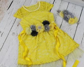 Yellow Flower Girl Dress LIMITED Rustic Flower Girl Dress Yellow Grey Jr Bridesmaid Dress Grey Sash Yellow Grey Headband Lace Dress LIMITED
