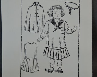 """Vintage Doll Clothing Clothes Pattern - early 1900s style Middy Dress, Cape & Hat 18-20"""" Girl Doll - Carter Craft Doll House #30"""