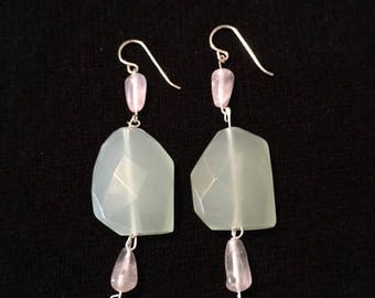 Silver Chalcedony and Rose Quartz Earrings