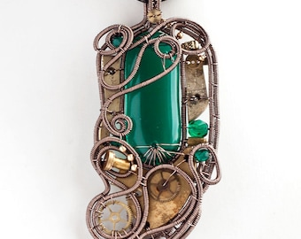 OOAK Green steampunk fused glass wire wrapped pendant