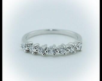 Diamond Wedding Band 7 stone Thin Band