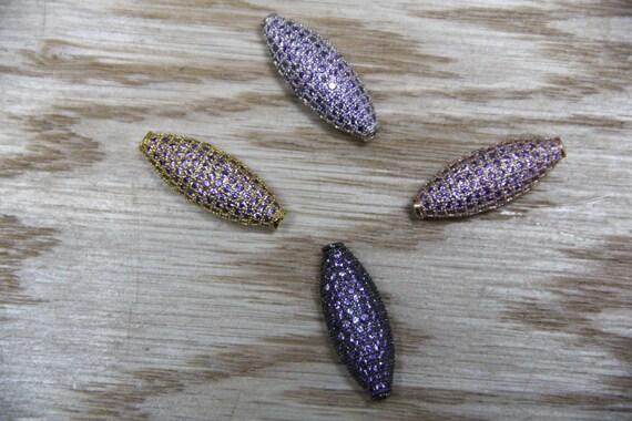 Light Amethyst CZ Micro Pave 11x28mm Long Oval Beads