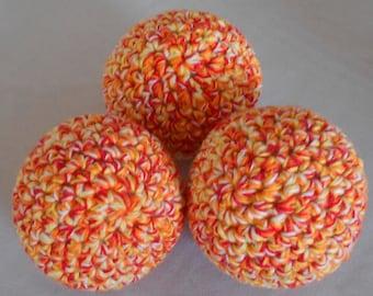Crocheted Indoor Juggling Ball Set - Cotton Crochet Juggling Balls- Orange and Red Juggle Ball Set - Orange Soft Pet Ball Toy