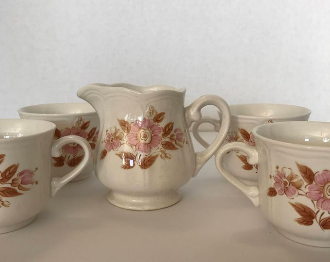 Iron stone Wicker Rose Creamer with Tea Cups