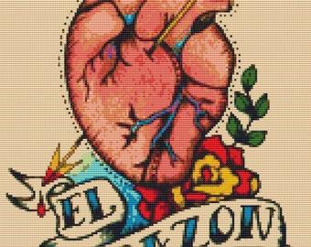 Anatomical Heart,  Tattoo Cross Stitch Kit, 'El Corazon',  Illustrated Ink, Loteria Needlecraft Kit, Counted Cross Stitch, Illustration