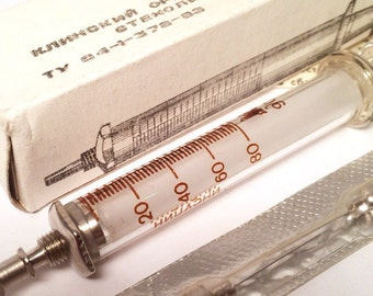 Vintage Soviet glass Syringe 2 ml in the box + 2 needles/ Medical supplies