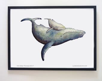 Printable Humpback whale mother and baby print