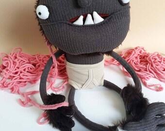 Plush goblin monster soft sculpture funny plushie creature