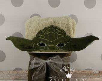 Kid's Hooded Towel - Yoda Hooded Towel - Character Inspired Force Master Yoda Towel for Bath, Beach, or Swimming Pool