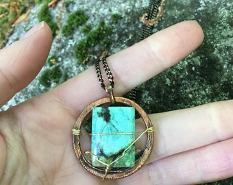 Genuine turquoise wrapped necklace
