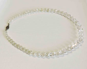 Vintage Clear Crystal Glass Necklace