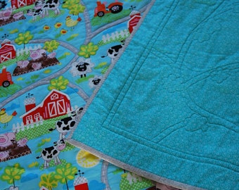 Patchwork Quilt, Childrens Quilt, Farm Quilt, Childrens Blanket, Childrens Play Mat, Farmyard Themed Play Mat, Blanket, Quilt, Throw