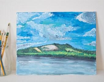 Original acrylic painting / marine painting / water and sky