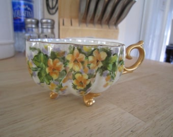 Lustre Footed Shelly Floral Teacup