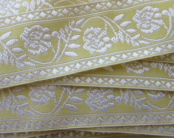 "Italy 2 Yards Fabric Jacquard Trim Pale Yellow And White Floral Folkloric Trim 1-1/4"" Wide Ribbon  RV 60"