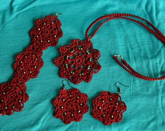 Deep Red Necklace, Bracelet, & Earring set