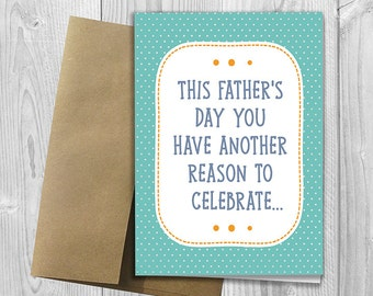 PRINTED This Father's Day you have another reason to celebrate -  Pregnancy Announcement 5x7 Greeting Card  -  Expecting Notecard