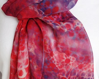 silk scarf chiffon Red Navy Chain hand painted extra long unique wearable art women wrap