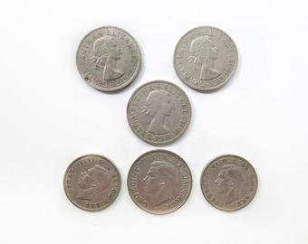 Six Vintage British Coins, 1948, 1950, 1955, 1966-67