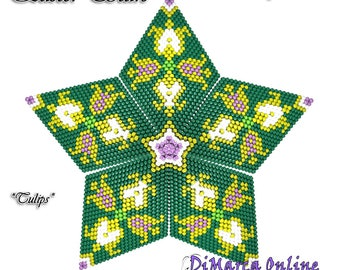 Beading Pattern/Tutorial Easter TULIPS 3D PEYOTE STAR + Basic Instructions