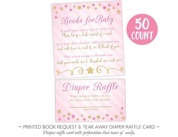 Twinkle Twinkle Little Star Book Request Diaper Raffle Card, Twinkle Twinkle Little Star, Pink and Gold Printable