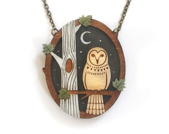 Night owl necklace ~ hand painted laser cut necklace
