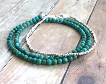 Genuine Turquoise Bracelet, Small Bead Bracelet, Sterling Silver Turquoise Jewelry, Blue Green Stone Double Wrap Bracelet
