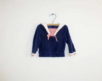 Vintage Navy Velour Nautical Shirt
