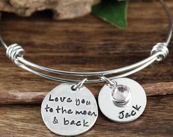 Liebe dich zum Mond und zurück Armband, personalisierte Oma Armband, benutzerdefinierte Armband, Signatur Schmuck, Gravur Armband, Geschenk für Mama