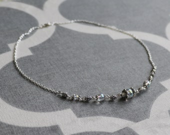 Iridescent glass bead choker