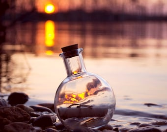 Message In The Bottle. Sill life conceptual photography. Wall art. Decor.