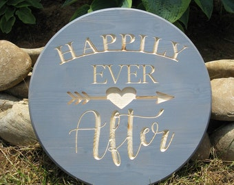 Happily Ever After -  Routed Wood Disk 3D Wall Decor - Color Options DSK13
