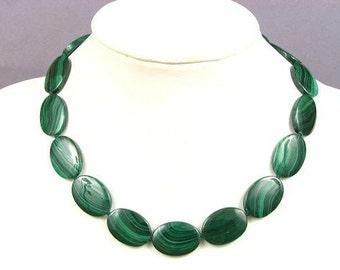 Necklace Malachite 25mm Flat Ovals 925 NSMA5057