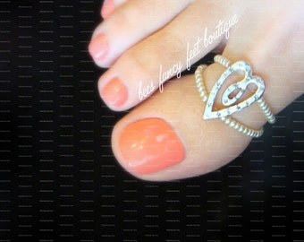 Big Toe Ring, Heart Toe Ring, Heart Ring, Silver Toe Ring, Silver Ring, Toe Ring, Ring, Stretch Bead Toe Ring