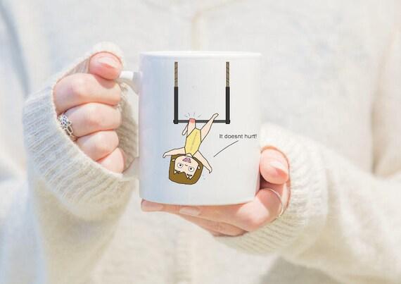 aerial trapeze mug, gift for girls, unique coffee mug, coffee mug, aerial problems, circus problems, circus gift, circus mug, circus party