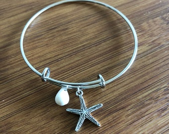 Hawaiian Island Style Bangle Bracelet  with Cone chell and Star fish Charm