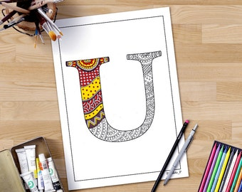 Coloring Pages With Alphabet Letters : Coloring page for adults alphabet v zentangle printable