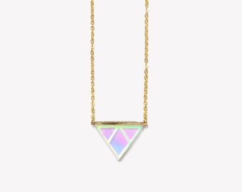 SMALL DELTA necklace 18K Gold-Filled | Holographic gold triangle necklace | Geometric hipster punk necklace | 1990 grunge jewelery