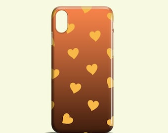 Golden Hearts iPhone X case, iPhone 8 / cute iPhone 8 Plus / autumn iPhone 7 / Heart iPhone 7 Plus / graphic iPhone 6, 6S, iPhone 5, 5S, SE
