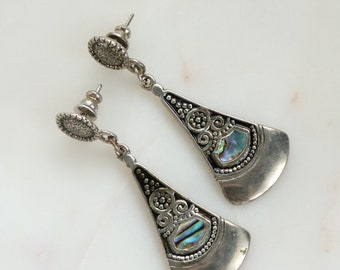 Abalone Silver Dangle Earrings