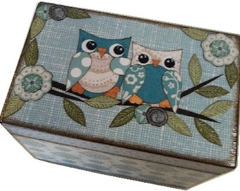 File Box, Recipe Box,  Address Index Card Box, Decoupage Wooden Box, Holds 4x6 Cards, Home Office Decor, Owl Box, Organizer,  MADE TO ORDER