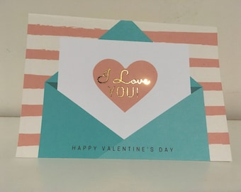 Real Gold Foil Love Note Valentine's Day Card | Customize | Personalize