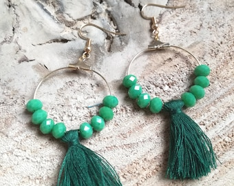 Earrings / / hoops / / green tassel