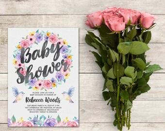 Baby Shower Invitation, Baby Shower Girl, Floral, Wreath, Flowers, Invitation, Watercolor Baby Shower, Birds, Printable No. 1084