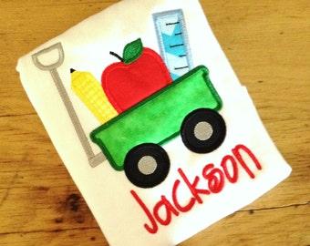 Back to School Wagon Appliqué Tshirt