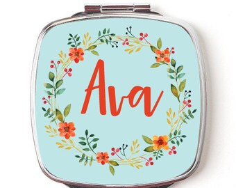 Personalized Compact Mirror, Custom Pocket Mirror, Floral Wreath Design, Custom Name, Bridesmaid Gift, Bridal Party Mirrors